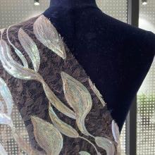 Tecido transparente multicolorido do bordado das lantejoulas do pop 3mm