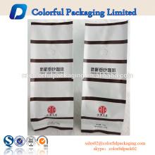 Sacos plásticos personalizados matt café com válvula e estanho laço quad seal bag