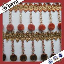 Pompom Vorhang Polyester Fransen hängen lange Perlen, Vorhang Perlen Pompom Franse
