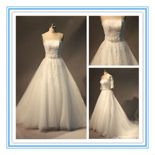 Gorgeous Strapless Appliqued Tulle Princess Wedding Dresses For Fat Woman(AC-1256)