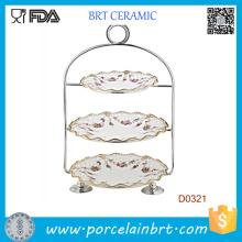 Support de gâteau de mariage en céramique de 3 rangées avec la poignée en acier indolore