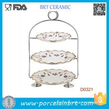 Titular de pastel de bodas de cerámica de 3 niveles con mango de acero sin revestimiento