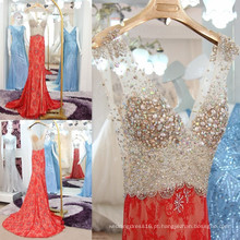 Charming Sexy Red Lace Mermaid Evening Dress 2016 Full Sparkling Beaded Crystal Rhinestone Deep V-neck Side Split Backless ML214