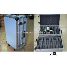 Aluminio profesional nueva llegada laminado caja con 2 ruedas para 12 botellas