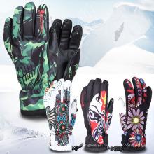 Colorido bordado impermeable al aire libre Thinsulate cálido guantes de esquí