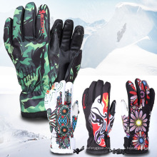 Colorful Embroidery Outdoor Waterproof Thinsulate Warm Ski Gloves