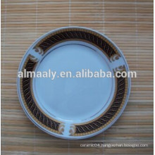 white ceramic omega plate with decals