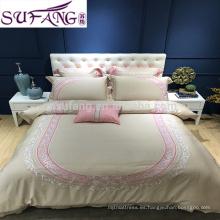 Sistemas de la cubierta de cama del bordado de la tela de Tencel del 100%, sistema al por mayor del lecho del hotel