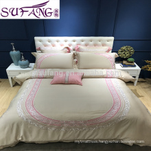 100% Tencel fabric embroidery bed cover sets, wholesale hotel bedding set