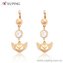 Moda elegante pérola em forma de coração de ouro banhado a jóia brinco eardrop com cz -24758