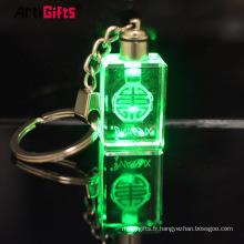 Porte-clés en cristal rose 3d personnalisé pas cher