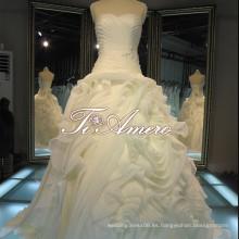Impresionante cariño sin tirantes drapeado organza barrido tren vestidos de noche de boda