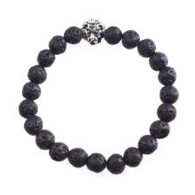 Volcano Stone 8mm Beads Bracelet Lion Head