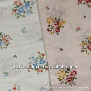 Cotton Jacquard Flower Printed Fabric