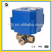 """3-way DC12V L-flow 1/4"""" Brass mini motorized ball valve with manual override and position indicator"""