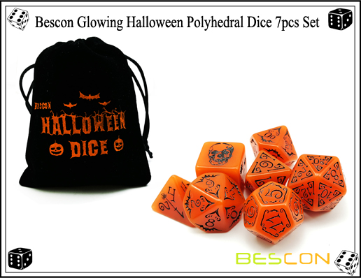 Bescon Glowing Halloween Polyhedral Dice 7pcs Set-7