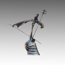 Östliche Bronze Skulptur Die Erhu Dekor Messing Statue Tple-006