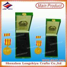 Gewohnheit 24k Gold Militär Geschenkbox Medaille Medaillon