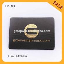 LB89 Adhésif noir personnalisé en cuir étiquetés en cuir gaufré sur mesure avec logo en feuille d'or
