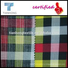 плед шаблон проверки напечатаны на хлопок поплин переплетения в пределах slub волокна ткани легкий вес 121 gsm для рубашки