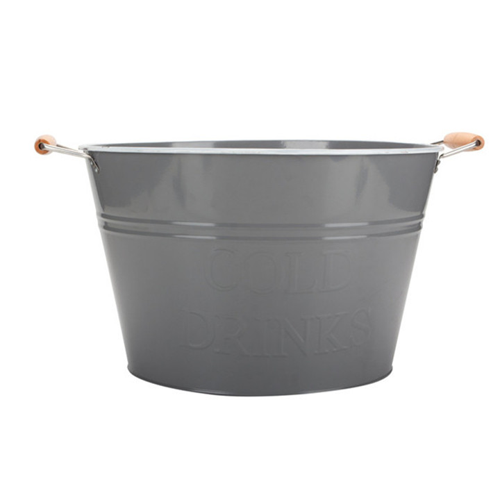 Large Round Tin Tub Coated Bucket