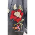 Women's Black Pu Embroidery Jacket