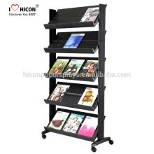 Erscheinen Positive Shopping Experience Floor Stand Buch Letuo Magazine Einzelhandel Metall Display Rack Store Regal Display Unit On Wheels