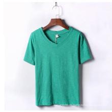 Fashion Custom Bambus Baumwolle V-Ausschnitt Mädchen und Frauen T-Shirt