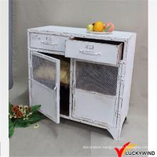 White Eco Painted Metal Vintage Industrial Furniture