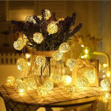 Handgemachte Rattan Bälle dekorative Lichterketten