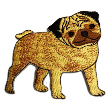 Cute Pug Breed Dog Appliques Bordir Patch