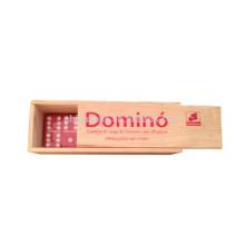 Kundengebundener hölzerner Kasten-roter Domino-Satz