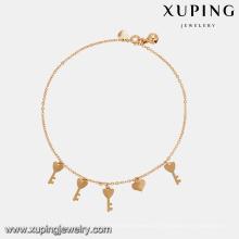 74947 venda Quente de alta qualidade senhora jóias banhado a ouro chave forma simples estilo tornozeleira com pequeno sino