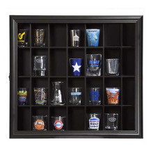 Custom 16x18 Inch Classical Black  Wooden Glass Display Case Wall Mounted Room Boxes Shelves For Home Decor