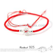 Moda barato prata jóias vermelho pulseira corda trançada