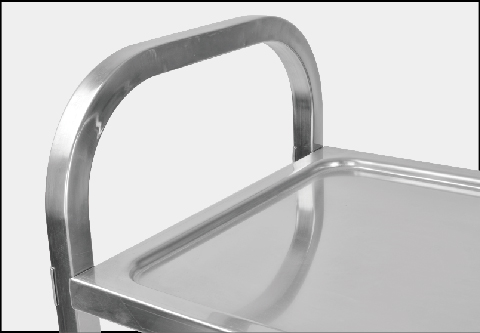 Dining trolley with double-sided pusher