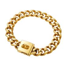Factory Drop Shipping 23MM Gold Chain With Diamond Dog Collar  18K Cuban Dog Chain For Dog Training Collar