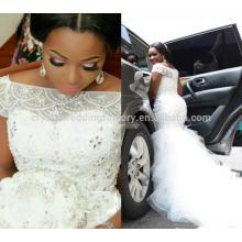 Cristal De Perlas Pesado Vestido De Noiva Appliqued Encaje Africana Sirena Vestido De Manga Corta MW995