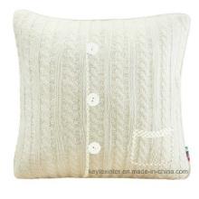 Taie d'oreiller en housse de coussin avec boutons en tricot acrylique (C14106)