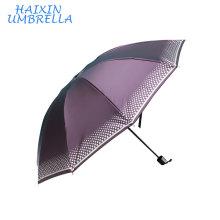 Venta al por mayor del OEM al aire libre Gran mercado de la impresión del paraguas de Shangyu de plata El mejor precio 170T Pongee Sun del paraguas de 3 plegables portátiles