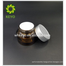 30g amber empty cosmetic glass jar with lid face cream foundation cream glass jar silvery cap