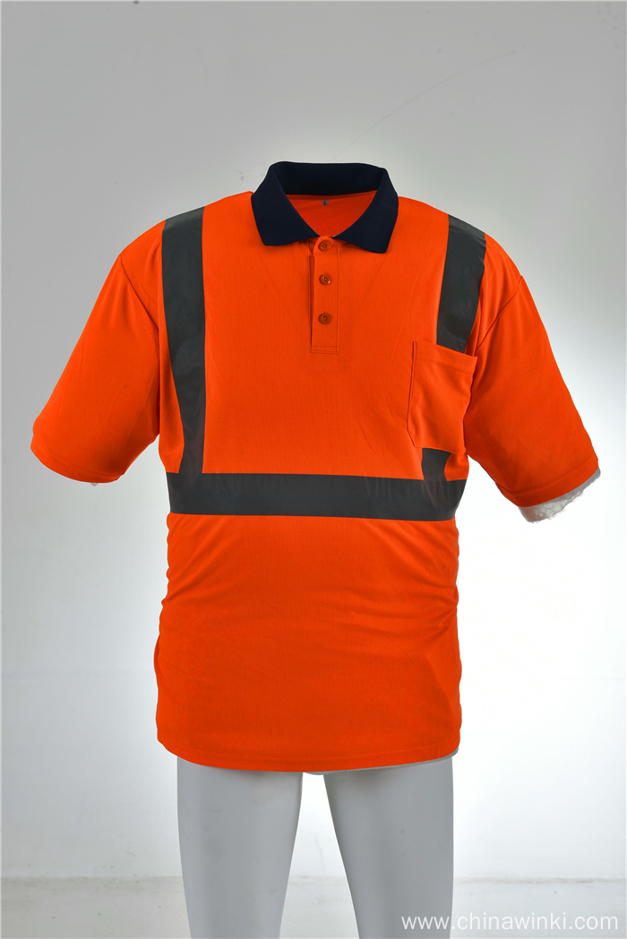 Orange High Viz Class 3 Reflective Safety Short Sleeve Shirt