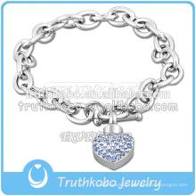 Bracelet extensible en acier inoxydable 316L pour bijoux de crémation avec pendentif en coeur