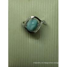 Natural Larimar esterlina joyería de plata en anillo (R0303)