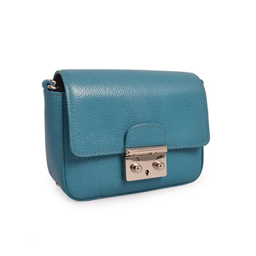 Borsa a tracolla da donna in pelle color acquamarina