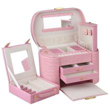 Мода девочек розовый кожаный случай ювелирных изделий (НХ-A0739-2)