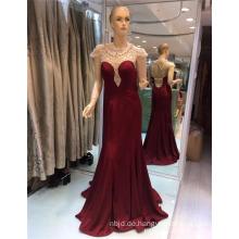 2017 Weinrot und schwarze Kappen-Hülse sehen durch Guangzhou-wulstige elegante Meerjungfrau-Abend-Kleider
