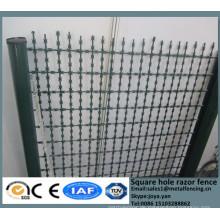 China-Metallgehäuse grillt hohe Sicherheitsquadratloch-Rasiermaschemattenbahnstraßen-Zaundraht-Teiler mit scharfem Rasiermesser