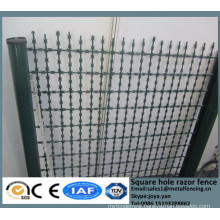 China metal enclosure grills high security square hole razor mesh panels road field fence wire dividers with sharp razor