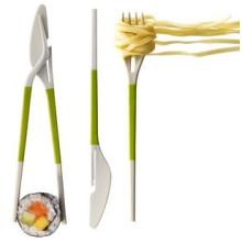 Tres en un palillo (cuchillo, tenedor y palillo)